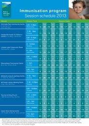 2013 Yarra Ranges Council Immunisation Schedule - Mount Evelyn ...