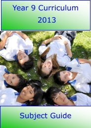 Year 9 Curriculum 2013 Subject Guide