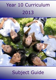 Year 10 Curriculum 2013 Subject Guide