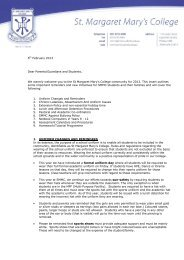 2013 Beginning of Year Letter - St Margaret Mary's College