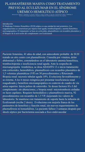 Plasmaféresis masiva como tratamiento previo al Eculizumab ... - AAHI