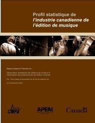 Profil statistique de l'industrie canadienne de l'édition de musique