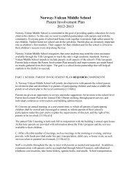 Norway-Vulcan Middle School Parent Involvement Plan 2012-2013