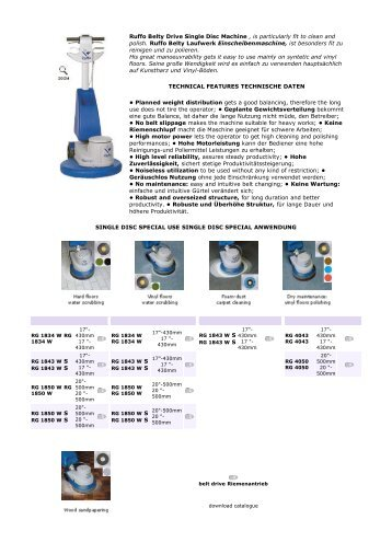 Ruffo Belty Drive Single Disc Machine , is particularly fit to clean and ...
