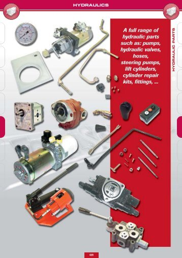 A full range of hydraulic parts such as: pumps, hydraulic valves ...