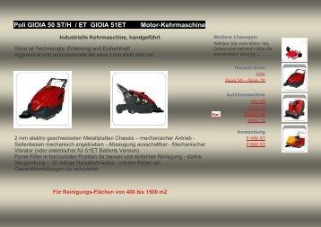Poli GIOIA 50 ST/H / ET GIOIA 51ET Motor-Kehrmaschine