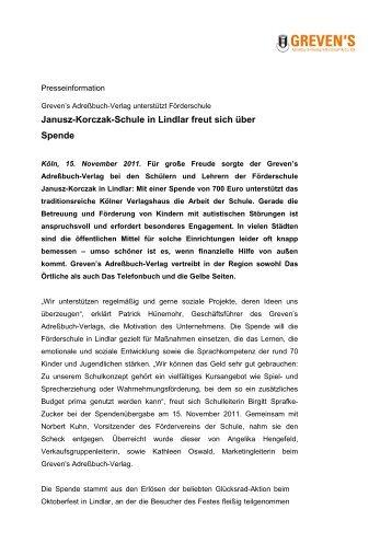 Janusz-Korczak-Schule in Lindlar freut sich über Spende