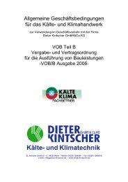 (VOB) Teil B - Dieter Kintscher GmbH & Co.KG