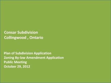 Consar Subdivision Collingwood  Ontario
