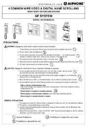 GF Audio/Video Installation Manual - Aiphone