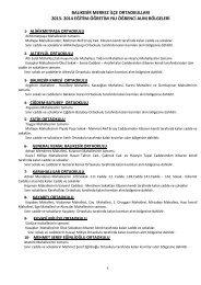 2014 eğitim-öğretim yılı öğrenci alım bölgeleri - Balıkesir İl Milli ...