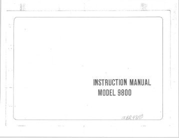 INSTRUCTION MANUAL MODEL 9800 - Riccar