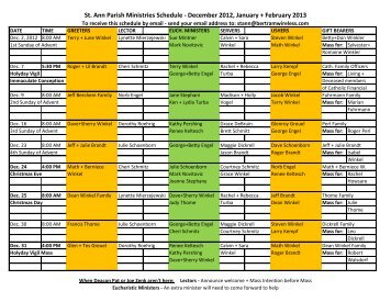St Ann Parish Ministries Schedule - December 2012 January + February 2013