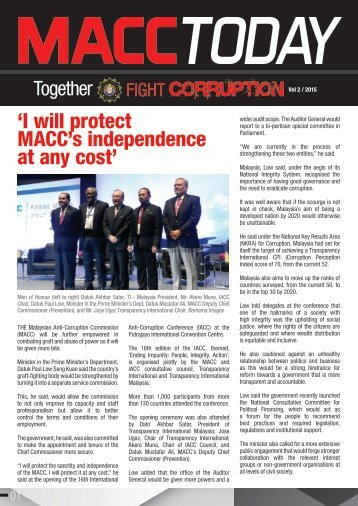 'I will protect MACC's independence at any cost'
