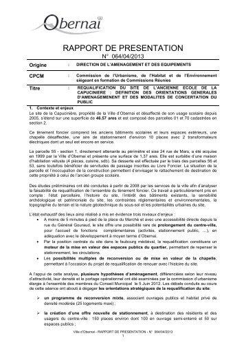 RAPPORT DE PRESENTATION