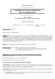 COMMUNAUTE DE COMMUNES DU PAYS DE HANAU