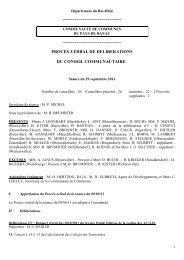 PROCES-VERBAL DE DELIBERATIONS DU CONSEIL COMMUNAUTAIRE