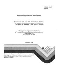 Thomson Scattering from Laser Plasmas - Lawrence Livermore ...
