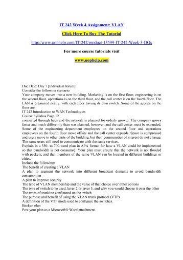 IT 242 Week 4 Assignment VLAN./uophelp