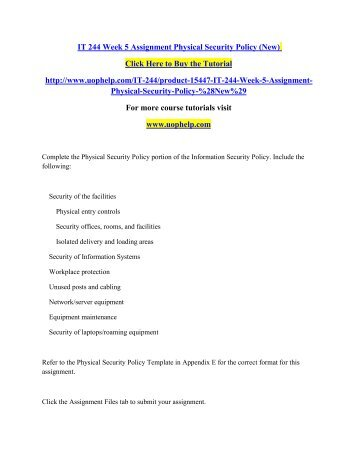 it 244 physical security policy Ehealth ontario ehr standard –physical security i copyright notice  13 2015 -01-21 aligned name of access control policy based on final.