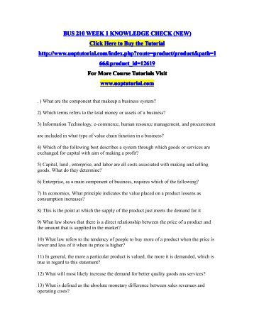BUS 210 WEEK 1 KNOWLEDGE CHECK (NEW)/Uoptutorial