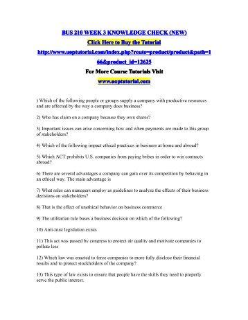 BUS 210 WEEK 3 KNOWLEDGE CHECK (NEW)/Uoptutorial