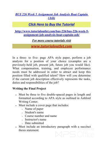 BUS 303 Week 3 Assignment Essay
