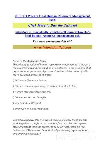 BUS 303 Week 5 Final Human Resources Management. /Tutorialoutlet