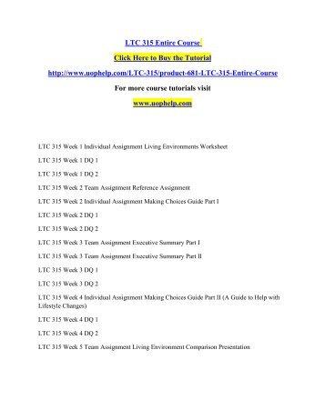 LTC 315 Entire Course /uophelp