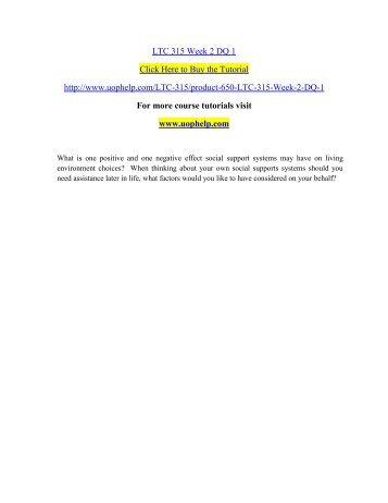 LTC 315 Week 2 DQ 1 /uophelp