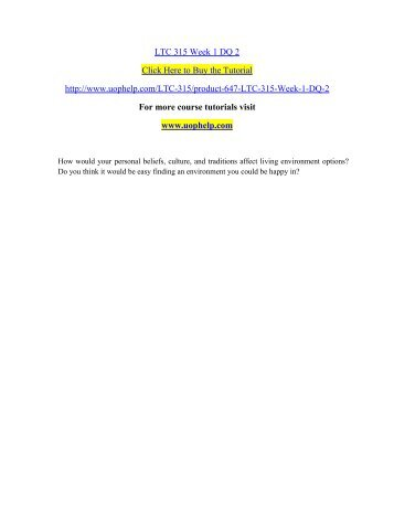 LTC 315 Week 1 DQ 2 /uophelp