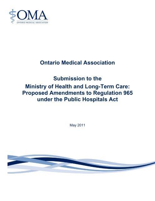 OMASubmissionPHAReg9652011-05-06 pdf - Canadian Healthcare