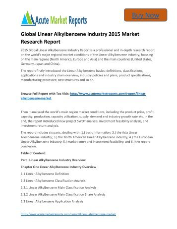 Global Linear Alkylbenzene Industry to 2020 Market Size, Industry Trends,Growth Prospects Till,: Acute Market Reports