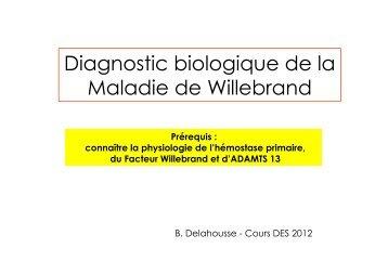 Diagnostic biologique de la Maladie de Willebrand