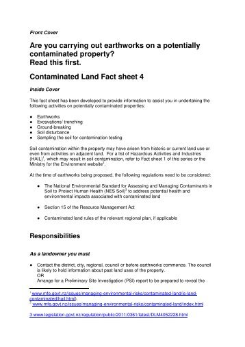 Fact Sheet 4 Are you carrying out earthworks- FOR ... - WasteMINZ