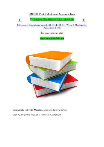 Ldr 531 Week 3 Mentorship Meeting Worksheet Snaptutorial
