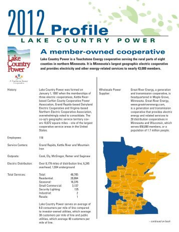 2012 Profile - Lake Country Power