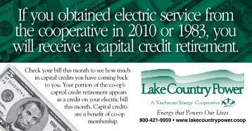 If you obtained electric service from the cooperative in 2010 or 1983 ...