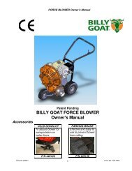 BILLY GOAT FORCE BLOWER Owner's Manual