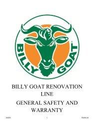 BILLY GOAT RENOVATION LINE GENERAL SAFETY AND WARRANTY