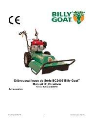 Débroussailleuse de Série BC2403 Billy Goat Manuel d'Utilisation