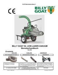 BILLY GOAT DL LKW-LADER-VAKUUM Benutzerhandbuch