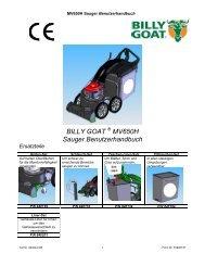 BILLY GOAT MV650H Sauger Benutzerhandbuch