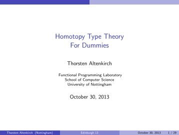 Homotopy Type Theory For Dummies