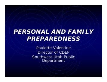 PERSONAL AND FAMILY PREPAREDNESS