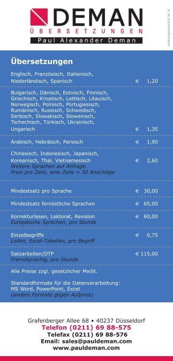 Preisliste - Übersetzungen Übersetzungsbüro Deman Düsseldorf