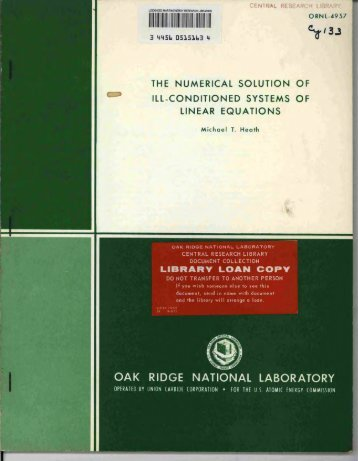 V - Oak Ridge National Laboratory
