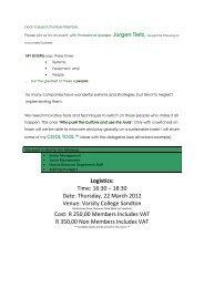 Logistics: Time: 16:30 – 18:30 Date: Thursday, 22 March 2012 Venue