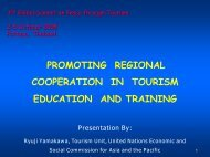 PROMOTING REGIONAL COOPERATION IN TOURISM EDUCATION AND TRAINING