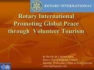 Rotary International Promoting Global Peace through Volunteer Tourism
